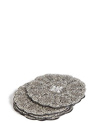 Set of 4 Beaded Coaster, , catlanding