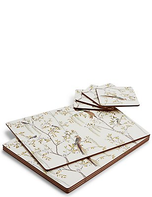 Ardingly Bird Cork Mat & Coaster Set, , catlanding