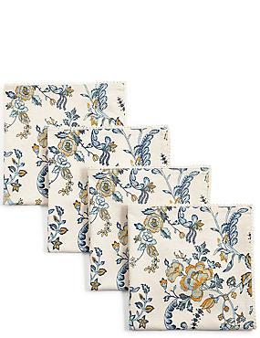 Ardingly– Lot de 4serviettes de table à motif fleuri, , catlanding