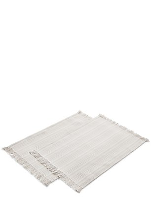 2 Pack Winter Retreat Woven Fringed Placemats, , catlanding