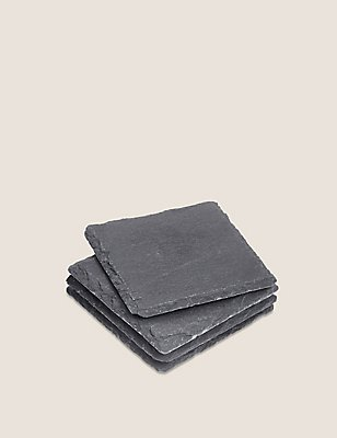 Slate Square Set of 4 Coasters, , catlanding