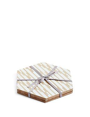 4er-Pack Loft-Platzdecken aus Holzfurnier mit geometrischem Muster, , catlanding