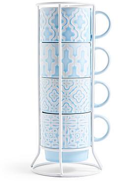 Set of 4 Embossed Stacking Mugs, BLUE MIX, catlanding