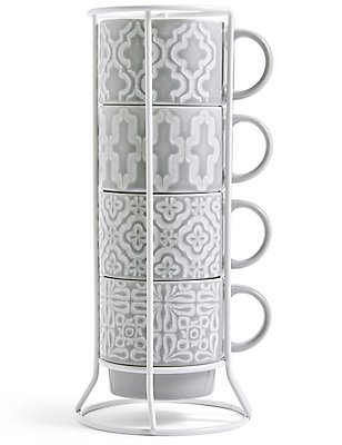 Set of 4 Embossed Stacking Mugs, , catlanding
