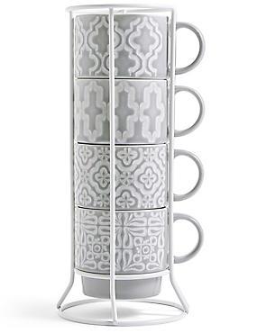 Set of 4 Embossed Stacking Mugs, GREY, catlanding