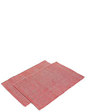 2 Pack Rib Woven Placemat , MEDIUM RED, catlanding