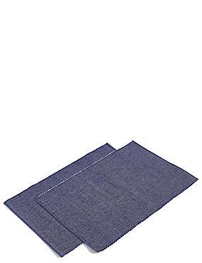 2 Pack Rib Woven Placemat , INDIGO, catlanding