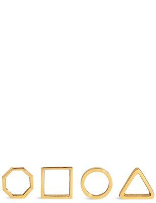 4 metalen servetringen met geometrisch patroon, , catlanding