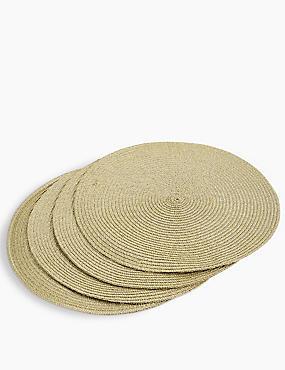 Sets de table tissés ronds, OR ASSORTI, catlanding