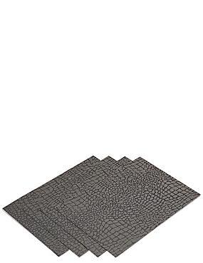 lot de 4sets de table en vinyl à motif léopard, , catlanding