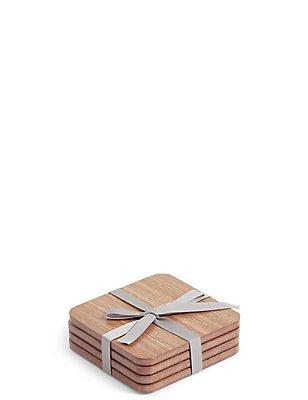 4 Pack Wood Veneer Coasters, WOOD, catlanding