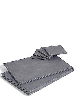 Faux Leather Placemat & Coaster Set, , catlanding
