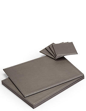 4 Pack Faux Leather Mat & Coasters, PEWTER, catlanding