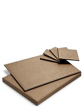 4 Pack Faux Leather Mat & Coasters, BRONZE, catlanding