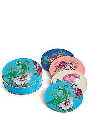 4 Pack Parrot Coasters & Tin, , catlanding