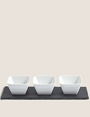 Set Of Three Tapas Bowls Slate Platter, , catlanding