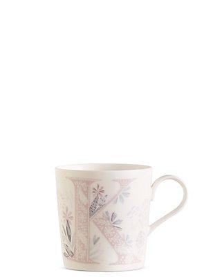 Mug avec lettre «K» et motif fleuri, , catlanding