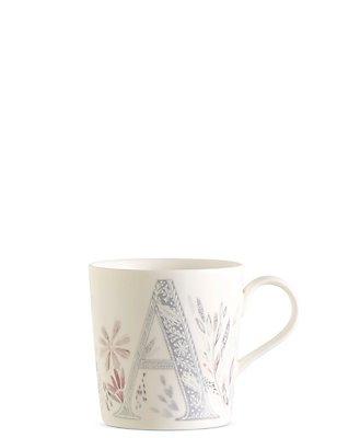 Floral Alphabet A Mug, , catlanding