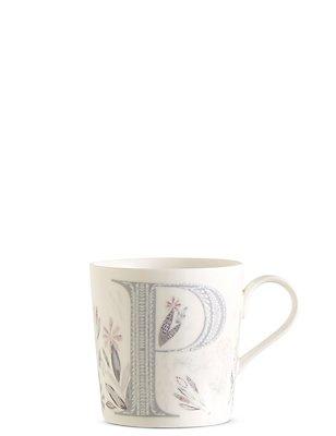 Floral Alphabet P Mug, , catlanding