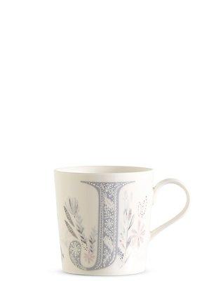Taza floral con la letra J, , catlanding