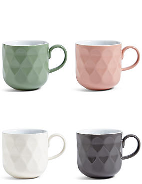 Tribeca Set of 4 Textured Mugs, , catlanding