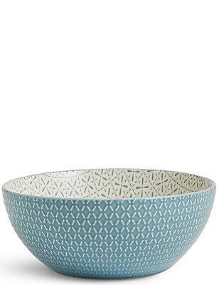 Large Texture & Pad Print Bowl, BLUE, catlanding