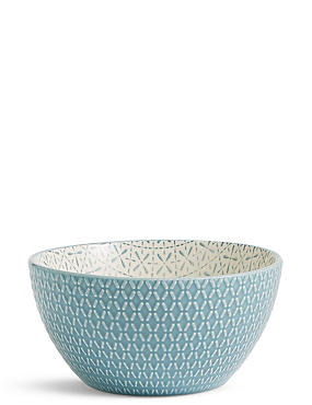 Medium Texture & Pad Print Bowl, BLUE, catlanding