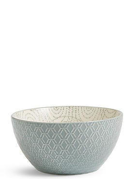 Medium Texture & Pad Print Bowl, GREEN, catlanding