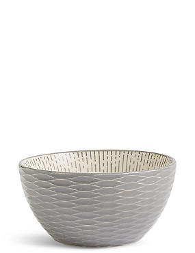 Medium Texture & Pad Print Bowl, GREY, catlanding