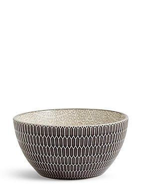Medium Texture & Pad Print Bowl, CHARCOAL, catlanding