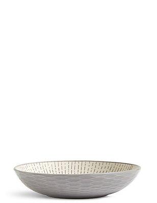 Shallow Texture & Pad Print Bowl, GREY, catlanding
