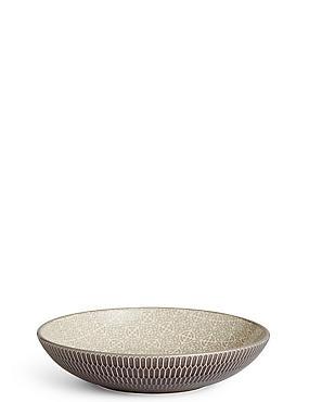 Shallow Texture & Pad Print Bowl, CHARCOAL, catlanding