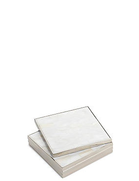 4 Mother of Pearl Coasters, WHITE, catlanding
