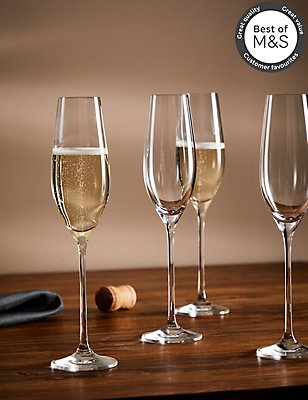 4 Maxim Champagne Flute Glasses, , catlanding