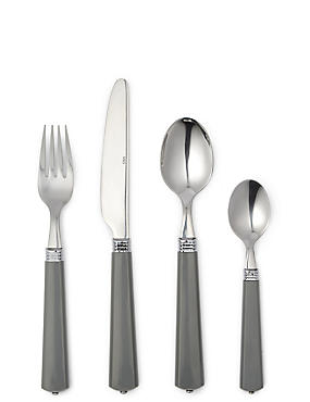 16 Piece Vintage Cutlery Set, CHARCOAL, catlanding