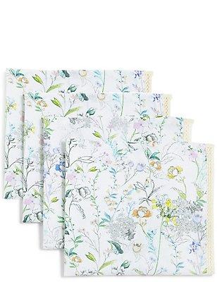 Set van 4 servetjes met bloemmotief, , catlanding