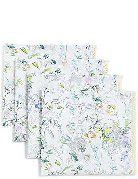 Lot de 4serviettes de table à imprimé fleuri, , catlanding