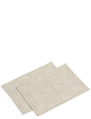 2 Pack Rice Stitch Embroidered Placemats, , catlanding