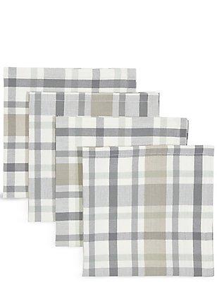 Set van 4 geweven servetten met ruitmotief, , catlanding