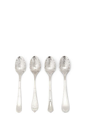 Set of 4 Dovecote Text Teaspoons, , catlanding