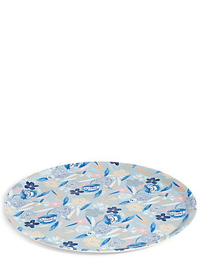Round Floral Melamine Tray, , catlanding
