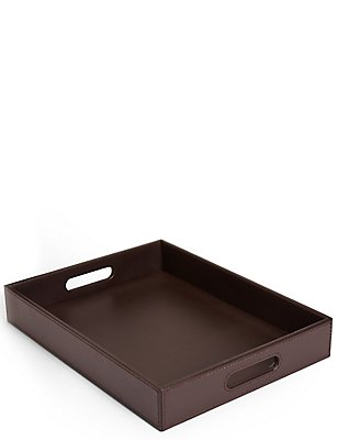 Faux Leather Tray, BROWN, catlanding