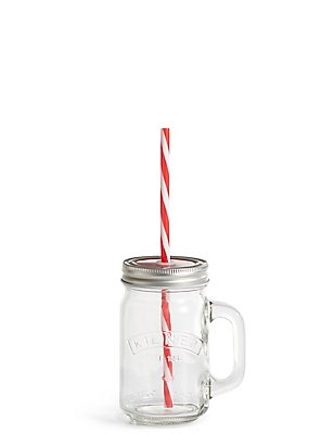 Kilner Glass with Lid & Straw, RED MIX, catlanding
