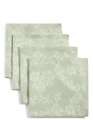 Set of 4 Damask Jacquard Napkins, , catlanding