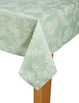 Damask Jacquard Tablecloth, DUCK EGG, catlanding