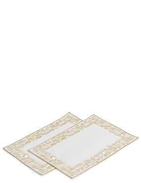 2 Pack Gold Embroidered Placemats, , catlanding