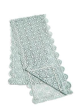 Chemin de table 100% coton, orné de dentelle fleurie, GRIS-BLEU, catlanding