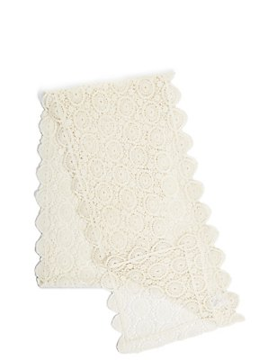 Pure Cotton Floral Lace Runner, IVORY, catlanding