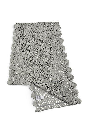Pure Cotton Floral Lace Runner, CHARCOAL, catlanding