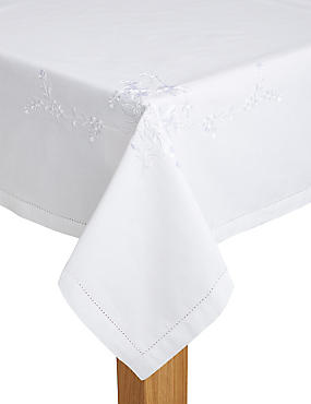 Dainty Floral Embroidered Tablecloth, , catlanding
